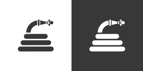 Hose. Isolated icon on black and white background. Gardening vector illustration