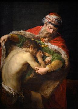 "Vienna, Austria. 2019/10/23. ""The Return of the Prodigal Son"" (1773) by Pompeo Girolamo Batoni (1708-1787). Kunsthistorisches Museum (Art History Museum) in Vienna, Austria."