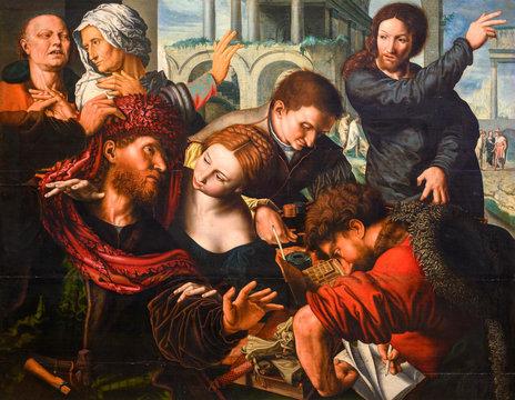 "Vienna, Austria. 2019/10/23. ""The Calling of the Apostle Matthew"" by Jan Sanders van Hemessen (c. 1500 – c. 1566). Kunsthistorisches Museum (Art History Museum) in Vienna."