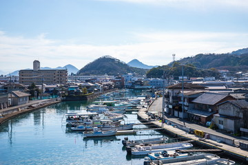 View of fishing port and boats in Takamatsu city , Kagawa, Shikoku, Japan