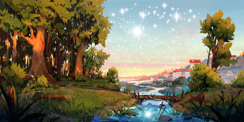Artistic 3d illustration of a river between trees under bright stars Fotomurales