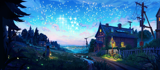Artistic 3d illustration of a home in a village under bright stars