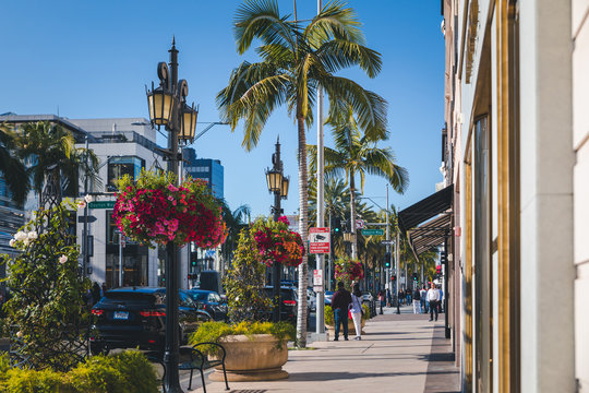 View of the fashionable street Rodeo Drive in Beverly Hills in Los Angeles, California