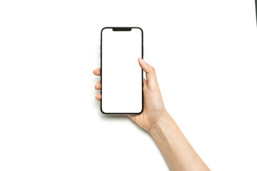 Woman hand hold a smartphone isolated on white.