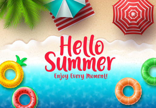 Hello summer text vector banner. Summer beach top view with colorful floating beach elements, umbrella and tropical palm tree in seashore background for holiday season. Vector illustration.