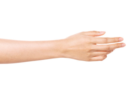 woman hand gesture (give, help) isolated on white.