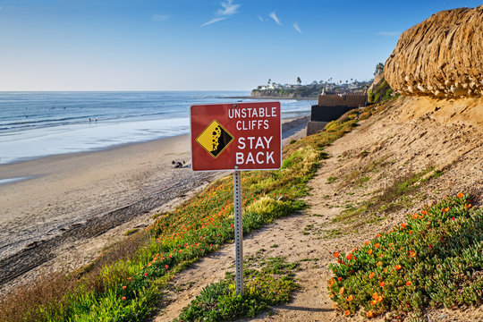Unstable Cliffs Sign on Pacific Beach path