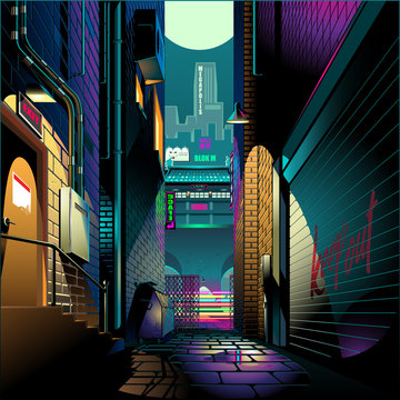 Alley at night cyber punk theme