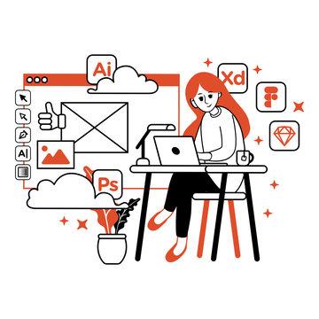 Freelance Graphic Designer Girl Working on Desk