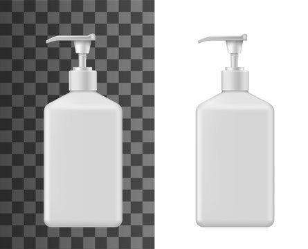 Liquid soap bottle vector mockups of 3d blank cosmetic containers. Beauty, body care and bath product packages, white plastic bottles with pump dispenser realistic design for shower gel or shampoo