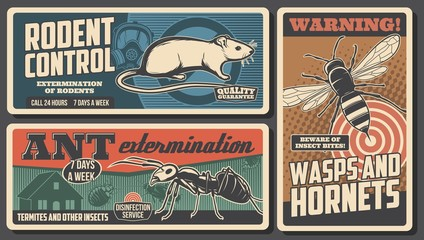 Domestic pest control service, deratization or rodent extermination vintage retro poster. Vector insects, ants and wasps pest control, mousetraps and sanitary desinsection and disinfection service