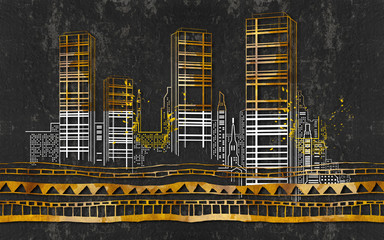 Silhouettes of buildings on a dark grunge background.