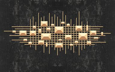 3d illustration, dark grunge background, beige crossed lines and geometric shapes