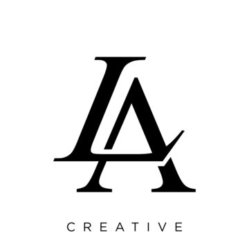 la or al letter logo design