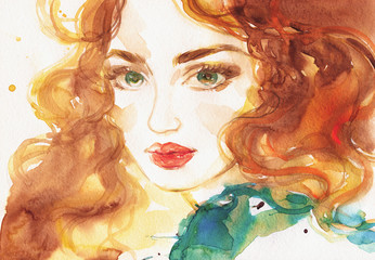 woman face. illustration. watercolor painting