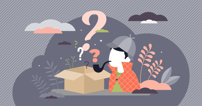 Mystery box wonder concept, flat tiny person vector illustration