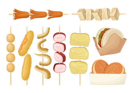 Skewered Hot Spicy Snacks with Meat and Seafood Vector Set