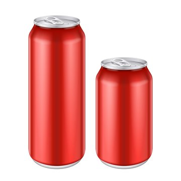 Mockup Red Metal Aluminum Beverage Drink Can 500ml, 0,5L. Beer, Soda, Lemonade, Juice, Energy. Mock Up Template Ready For Your Design. Isolated On White Background. Product Packing. Vector EPS10