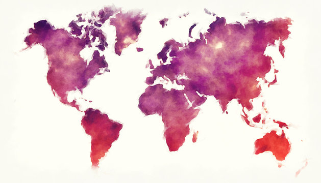 World watercolor map in front of a white background