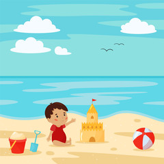 Poster Turquoise Vector beach scene with baby, sandcastle, beach ball, bucket and shovel. Cartoon character. Summer vacation.