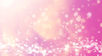 abstract pink background with bokeh lights and sunlight, panoramic background