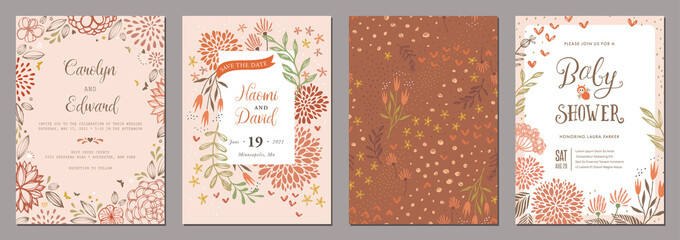 Set of floral wedding templates.  Good for birthday, bridal and baby shower.