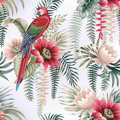 Tropical vintage botanical lotus flower, palm leaves, banana leaves, macaw parrot seamless pattern gradient background. Exotic jungle floral wallpaper.