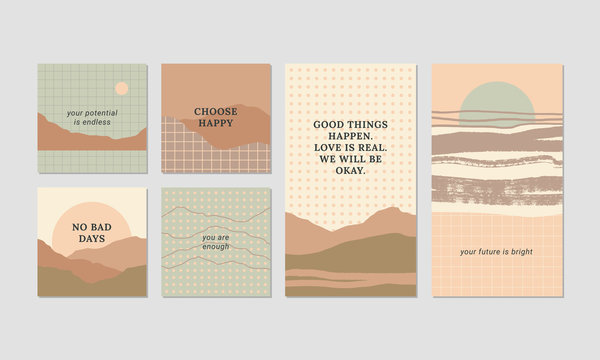 Set of unique artistic design cards in pastel colors. Abstract mountain landscape illustrations with motivational quotes. Geometric graphics, retro vibes.