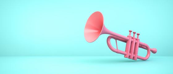 pink trumpet on blue background