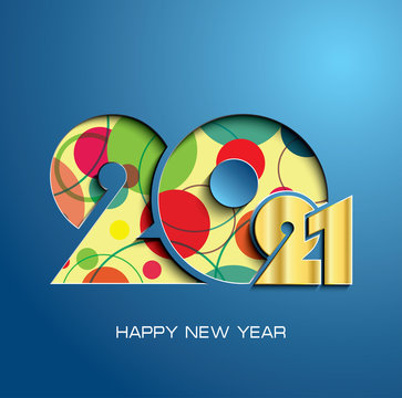 2021 happy new year text design on blue background. Creative design for your greetings card, flyers, invitation, poster, brochure, banner, calendar
