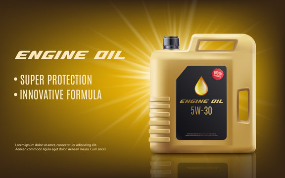 Engine oil ad poster mockup with realistic golden machine oil canister