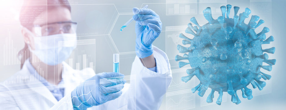 viral microorganism and lab technician holding a test-tube
