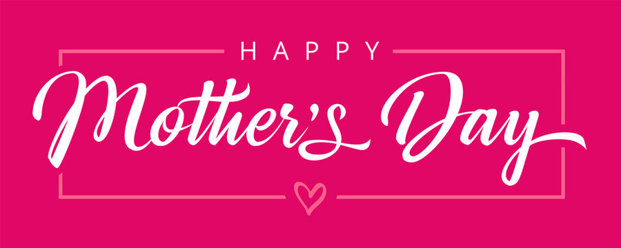 Happy Mothers Day calligraphy pink banner. Vector typography decoration for Mother's day or sale shopping special offer poster. Best Mom ever greeting card