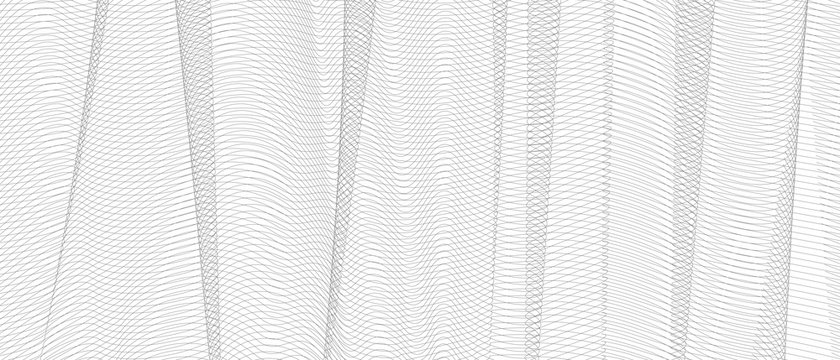 Vector monochrome textile pattern. Gray net with vertical drapery. Squiggle thin lines, crisscross ripple curves. Abstract striped background. Line art design, fabric, netting, mesh texture. EPS10