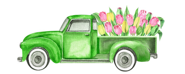 Watercolor retro truck with flowers- pink and yellow tulips. Hand painted vintage retro car illustration perfect for card making, wedding invitation and spring postcards