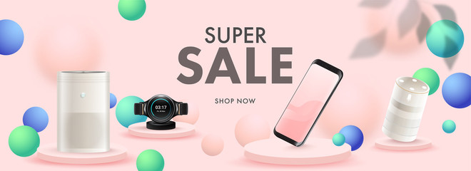 Super Sale Header or Banner Design with 3D Smartphone, Smart Watch, Voice Assistant, Air Purifier and Sphere Decorated Pastel Pink Background.