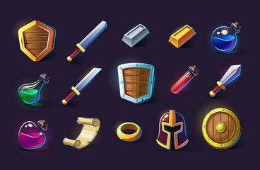 Set of vector icons, objects, things, item. Game concept and design. Design element. Magical magic. Game assets and tile. Fantasy, fiction style.