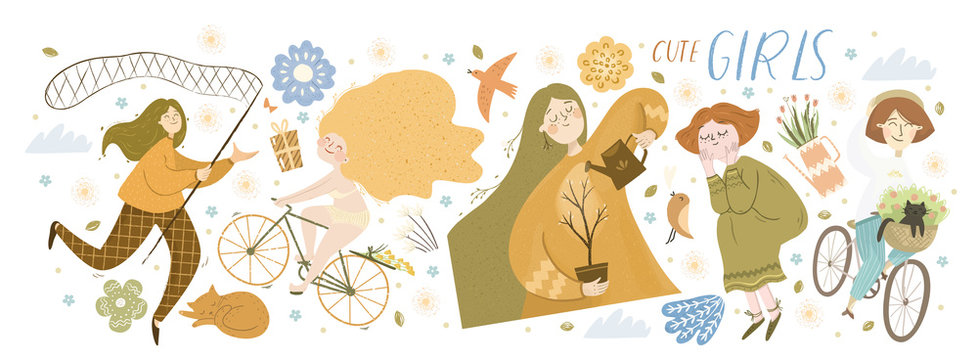 Cute girls! Vector cute illustration of characters with butterfly net, cyclist rides bicycle, girl watering tree, spring flowers, pet and isolated objects. Drawings for a card, poster or postcard