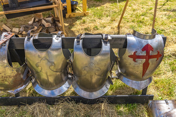 Medieval armour and weapons of a knight festival in Germany