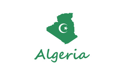 Algeria outline map country shape state borders national fla