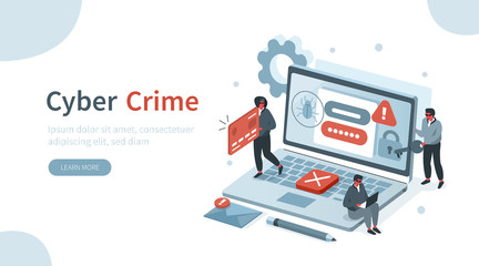 Hackers Hacking Information from Laptop and Stealing Personal Data, Credit Card and Password. Identity Theft, Cyber Crime and Internet Criminal Concept. Flat Isometric Vector Illustration. Wall mural