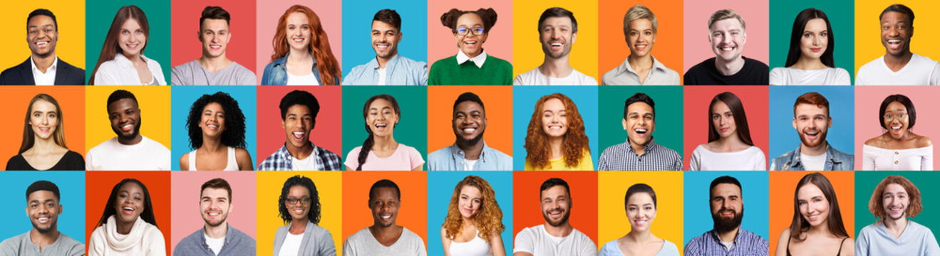 Collage Of Diverse People Portraits On Colorful Backgrounds, Panorama