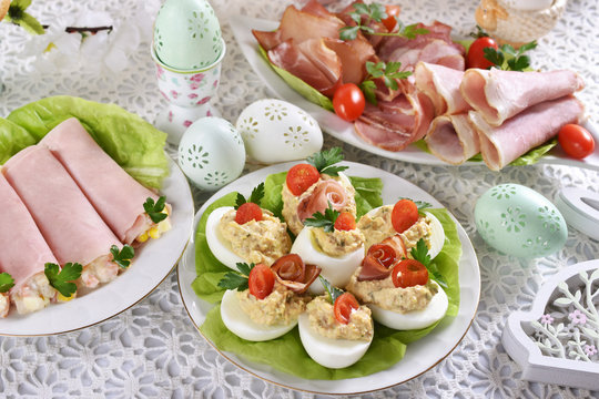 easter breakfast with eggs stuffed with salad