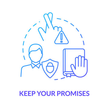 Keep your promises concept icon. People secrets keeping. Fidelity value. Being loyal, dependable and trustworthy friend idea thin line illustration. Vector isolated outline RGB color drawing