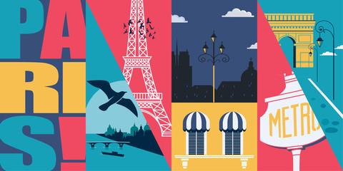 France vector skyline illustration, postcard. Travel to French capital Paris modern flat graphic design Fototapete