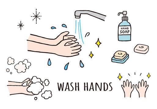 手洗いと石けんの手描きイラスト(カラー)