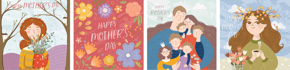 Happy mother's day! Vector illustration of mom with flowers, floral frame with text and cute family hugging. Drawing for card, postcard or background.
