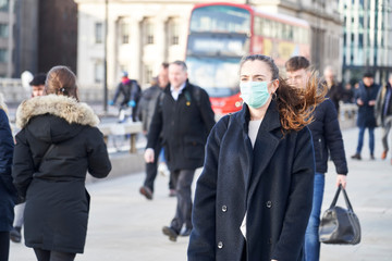 Poster London Young Woman Wearing Face Mask