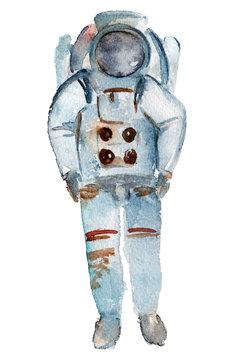Watercolor cosmonaut illustration. Hand drawn astronaut in spacesuit and helmet. Space design.