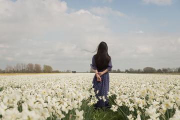 Girl in blue dress in field of flowers